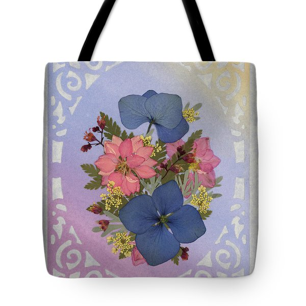 Pressed Flowers Arrangement With Pink Larkspur And Hydrangea Tote Bag
