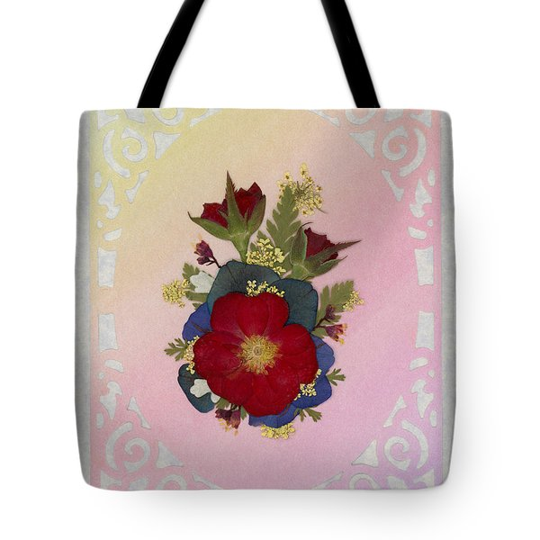Pressed Flowers Arrangement With Red Roses Tote Bag