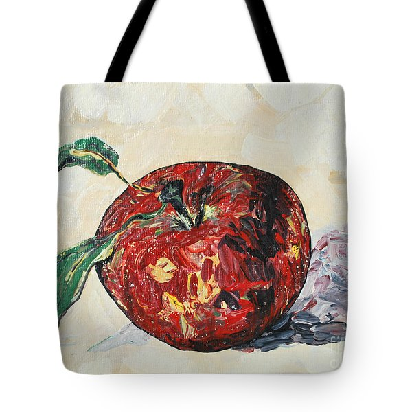 Tote Bag featuring the painting Pretty Apple by Reina Resto