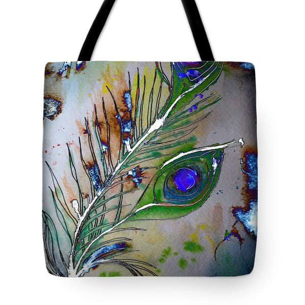 Tote Bag featuring the painting Pretty As A Peacock by Denise Tomasura