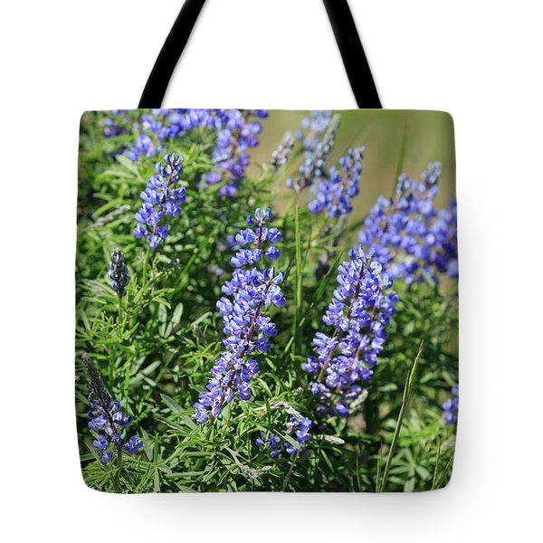 Pretty Blue Flowers Of Silky Lupine Tote Bag by Louise Heusinkveld