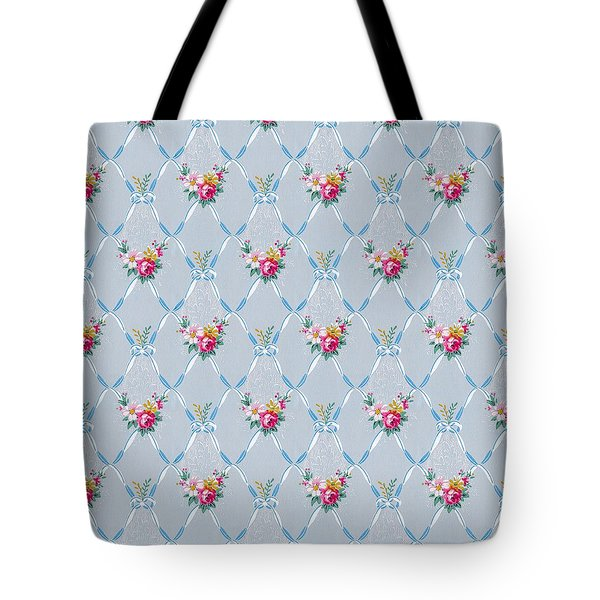 Tote Bag featuring the digital art Pretty Blue Ribbons Rose Floral Vintage Wallpaper by Tracie Kaska