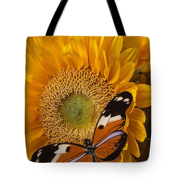 Pretty Butterfly On Sunflowers Tote Bag by Garry Gay
