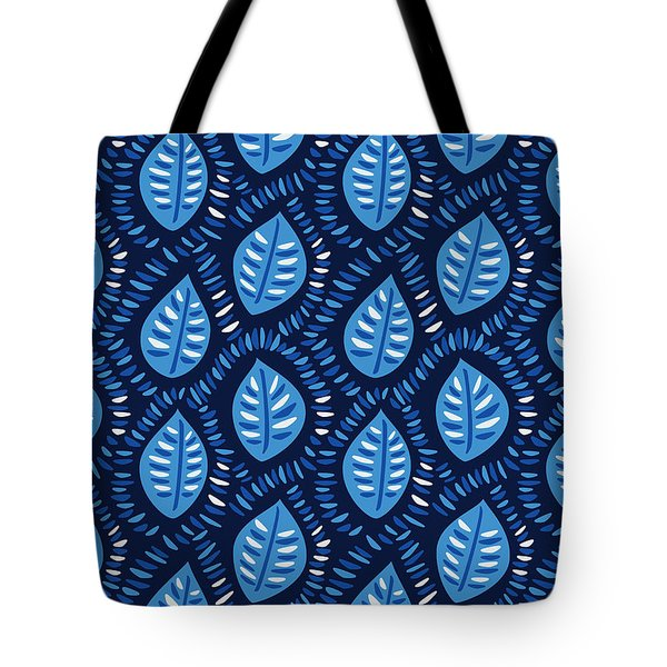 Pretty Decorative Blue Leaves Pattern Tote Bag
