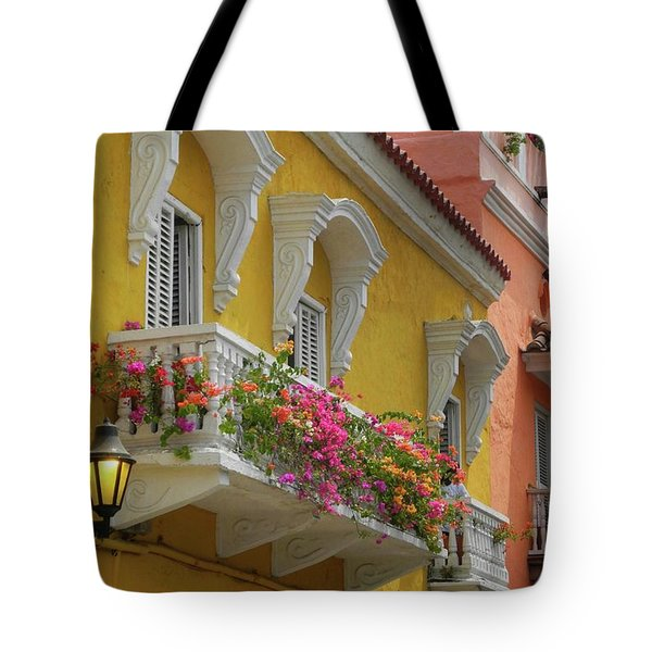 Pretty Dwellings In Old-town Cartagena Tote Bag