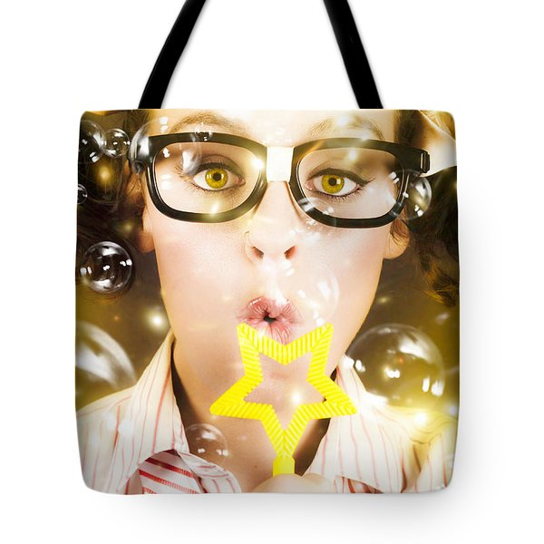 Tote Bag featuring the photograph Pretty Geek Girl At Birthday Party Celebration by Jorgo Photography - Wall Art Gallery