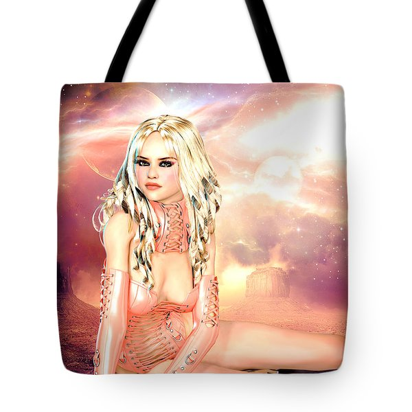 Pretty In Peach Galaxies Tote Bag