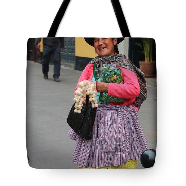 Pretty Lady In Lima Peru Tote Bag