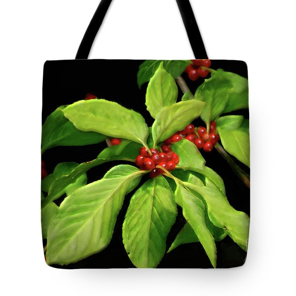Tote Bag featuring the photograph Pretty Little Red Berries by Lois Bryan