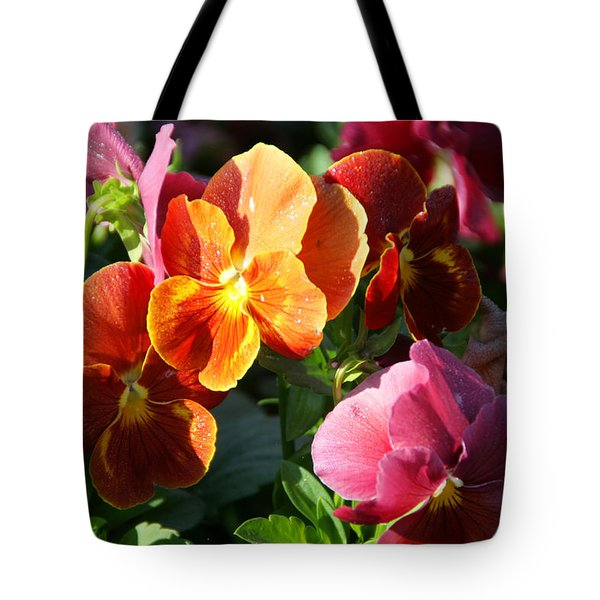Pretty Pansies Tote Bag by Andrea Jean