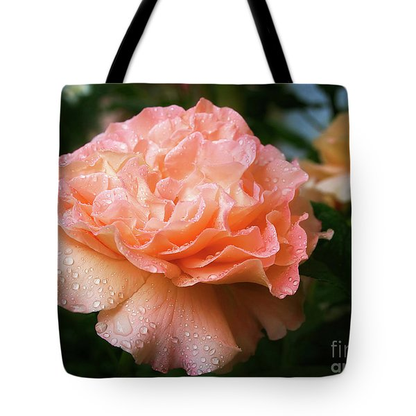 Pretty Peach Peony Flower Tote Bag