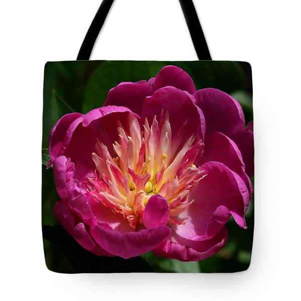 Pretty Pink Peony Flower Tote Bag