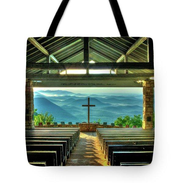 Pretty Place Chapel The Son Has Risen Blue Ridge Mountain Art Tote Bag
