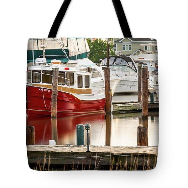 Pretty Red Boat Tote Bag