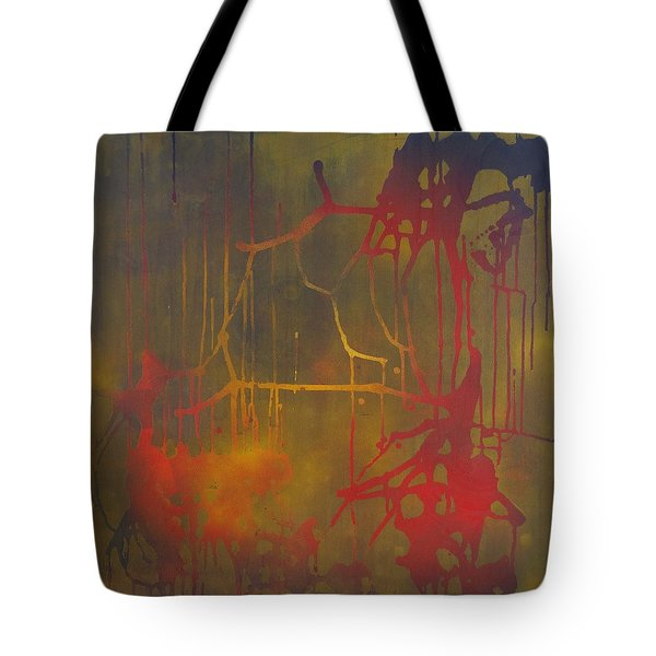 Tote Bag featuring the painting Pretty Violence On A Screen Door by Eric Dee