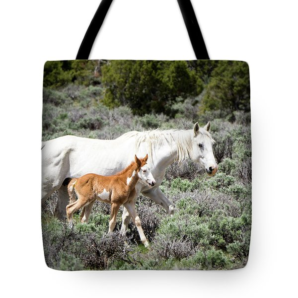Pretty White Mustang Mare With Her New Foal - Sand  Wash Basin Tote Bag