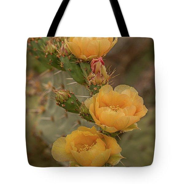 Prickly Pear Blossom Trio Tote Bag