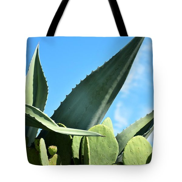 Tote Bag featuring the photograph Prickly Pear Cactus And Century Plant by Ray Shrewsberry