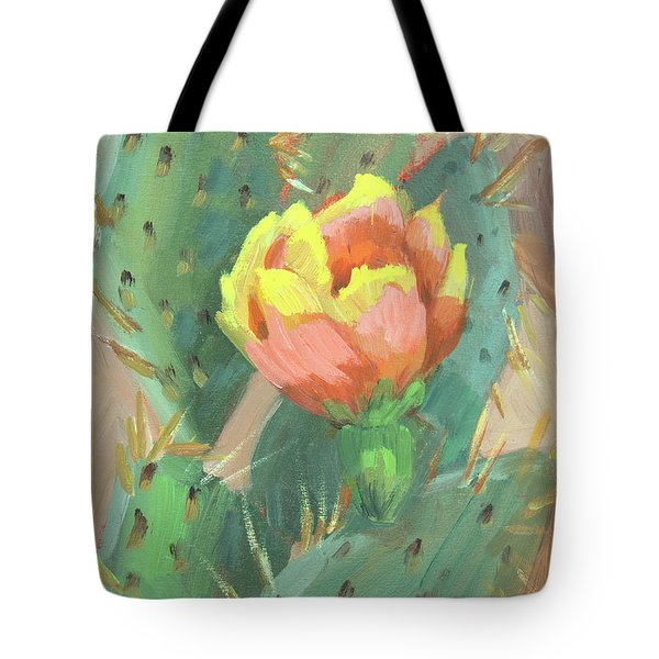 Tote Bag featuring the painting Prickly Pear Cactus Bloom by Diane McClary