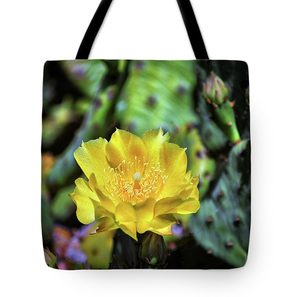 Tote Bag featuring the photograph Prickly Pear Cactus Flower On Assateague Island by Assateague Pony Photography