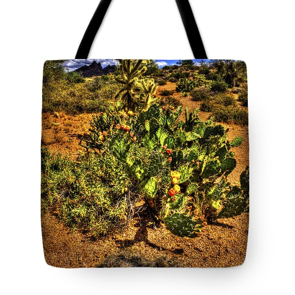 Prickly Pear In Bloom With Brittlebush And Cholla For Company Tote Bag