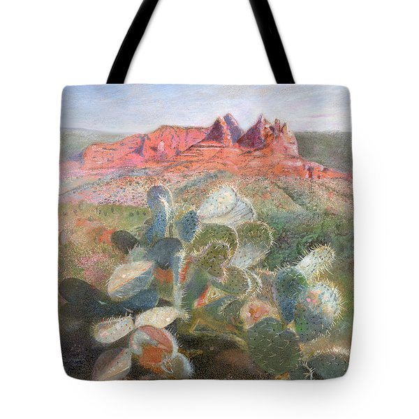 Tote Bag featuring the painting Prickly Pear In Sedona, Arizona by Nancy Lee Moran