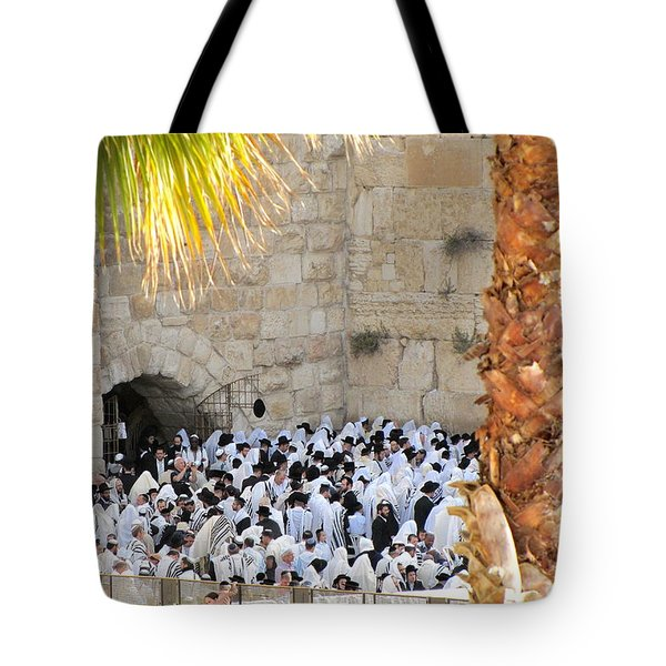 Tote Bag featuring the photograph Prayer Of Shaharit At The Kotel During Sukkot Festival by Yoel Koskas