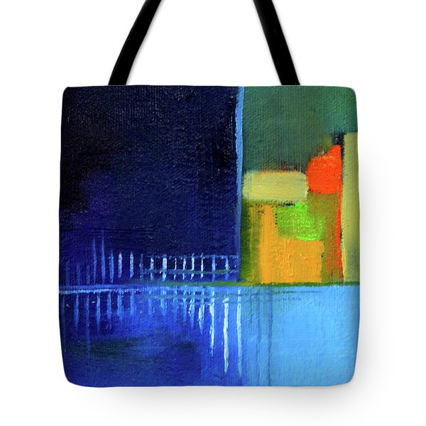 Tote Bag featuring the painting Primary Blue Abstract by Nancy Merkle