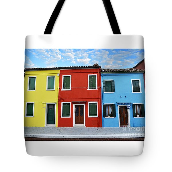 Primary Colors Too Burano Italy Tote Bag by Rebecca Margraf