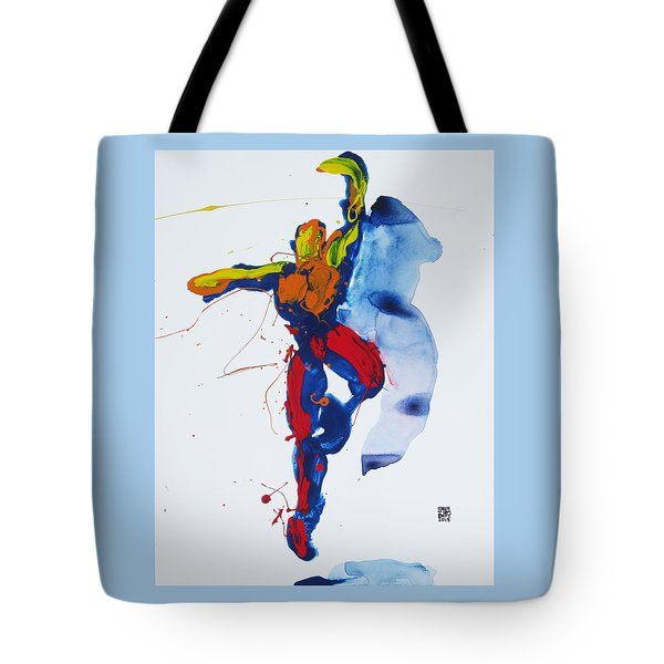 Tote Bag featuring the painting Primary Vertical Jump Shadow by Shungaboy X