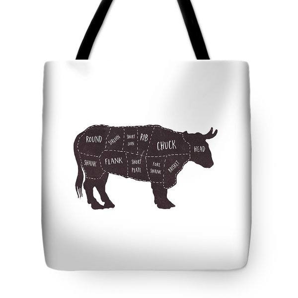 Primitive Butcher Shop Beef Cuts Chart T-shirt Tote Bag
