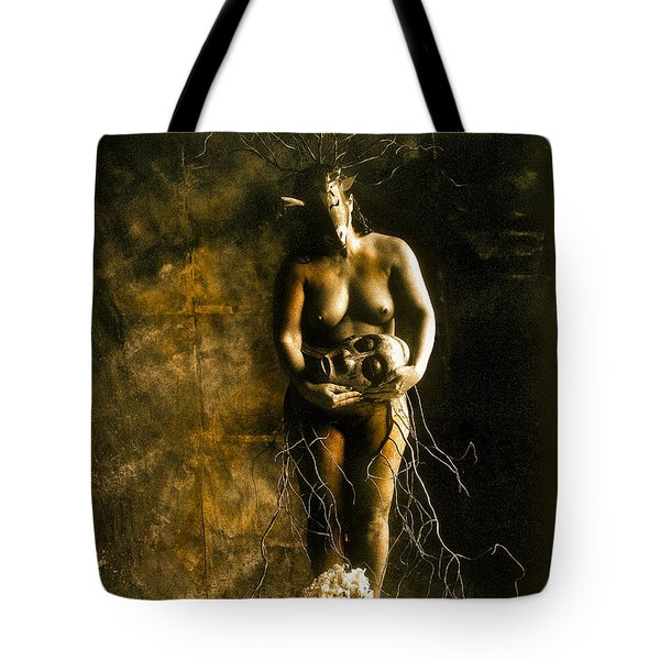 Primitive Woman Holding Mask Tote Bag