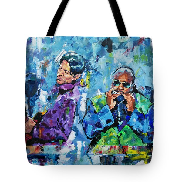 Tote Bag featuring the painting Prince And Stevie by Richard Day