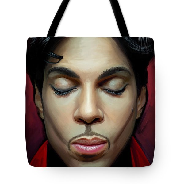 Tote Bag featuring the painting Prince Artwork 2 by Sheraz A