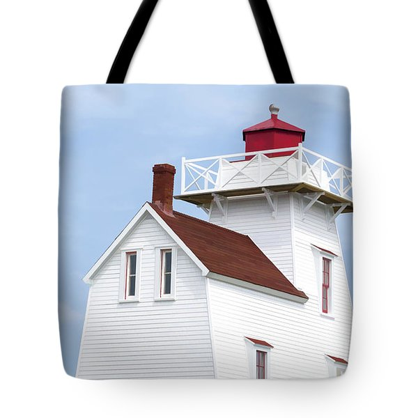 Prince Edward Island Lighthouse Poster Tote Bag by Edward Fielding