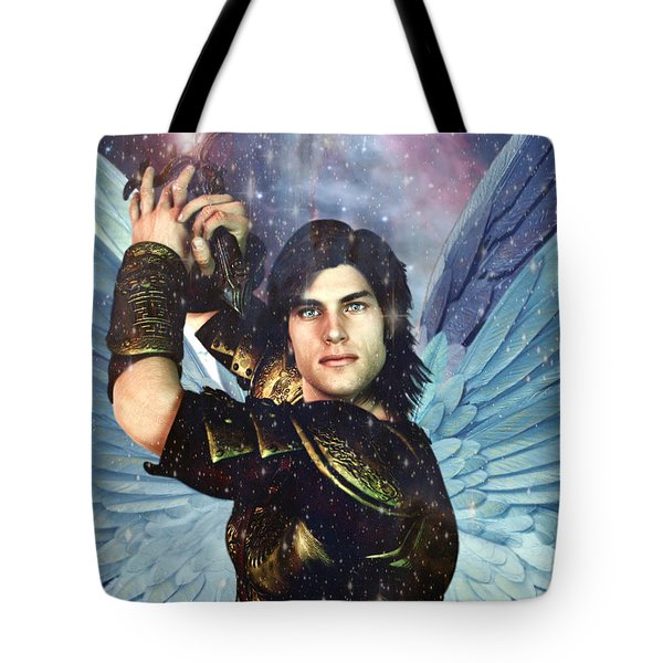 Tote Bag featuring the painting Prince Of The Heavenly Host Saint Michael by Suzanne Silvir