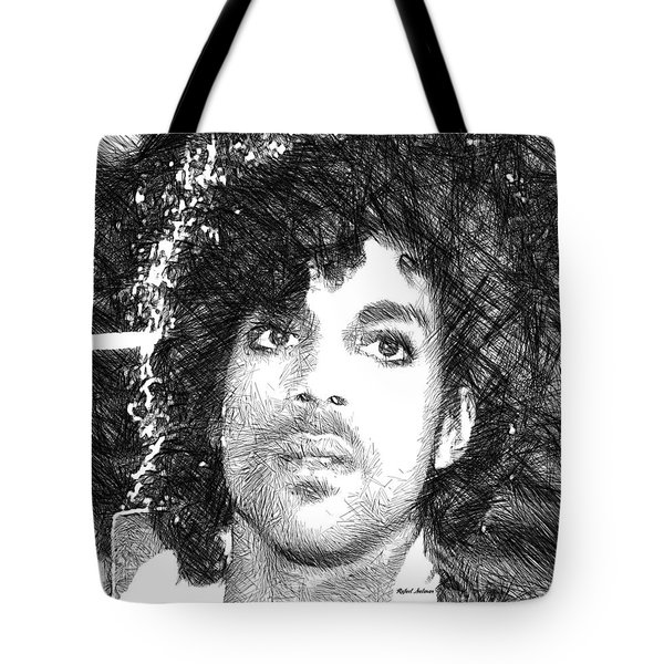 Prince - Tribute Sketch In Black And White 3 Tote Bag by Rafael Salazar