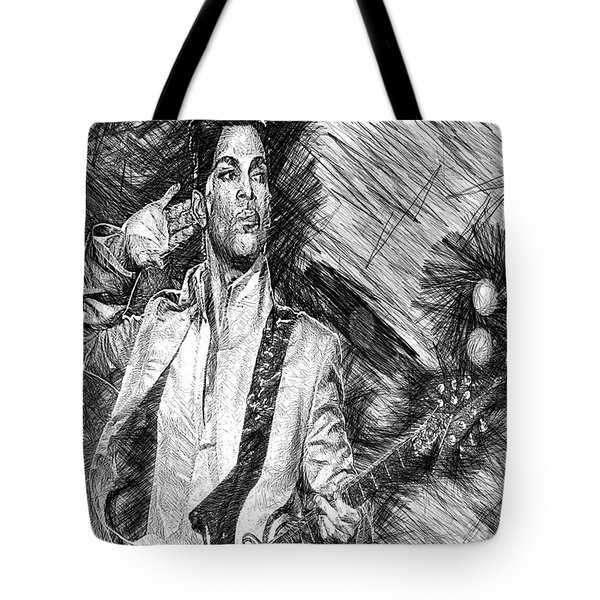 Prince - Tribute With Guitar In Black And White Tote Bag