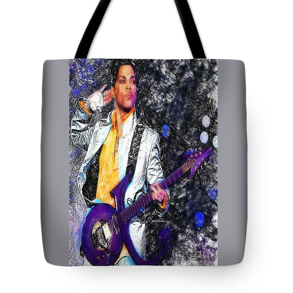 Prince - Tribute With Guitar Tote Bag by Rafael Salazar