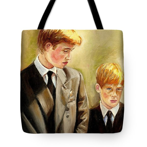 Prince William And Prince Harry Tote Bag by Carole Spandau