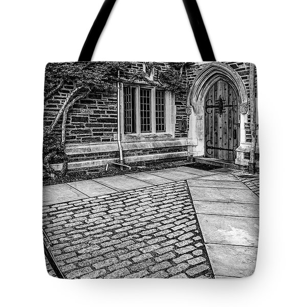 Tote Bag featuring the photograph Princeton University Foulke Hall Bw by Susan Candelario