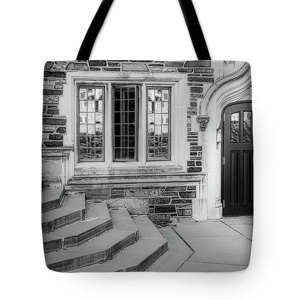 Tote Bag featuring the photograph Princeton University Lockhart Hall Bw by Susan Candelario
