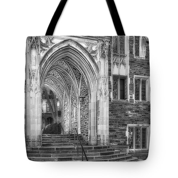 Tote Bag featuring the photograph Princeton University Lockhart Hall Dorms Bw by Susan Candelario