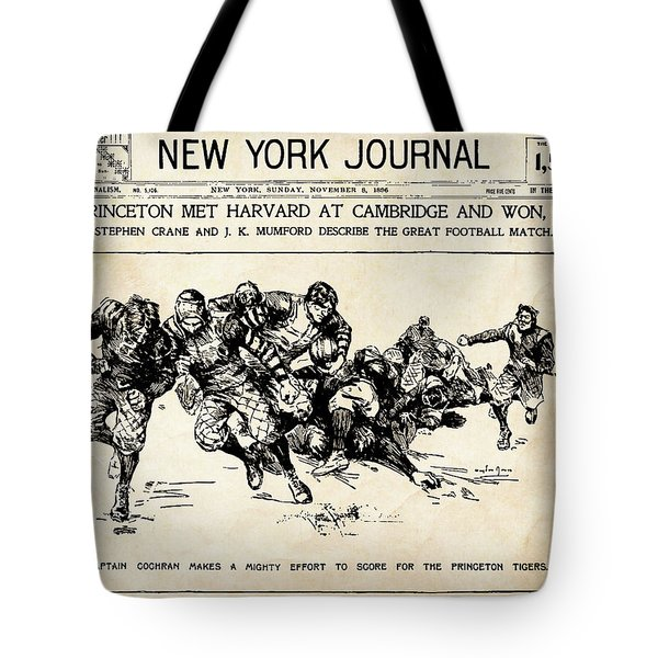 Tote Bag featuring the mixed media Princeton Vs Harvard - New York Journal 1896 by Daniel Hagerman