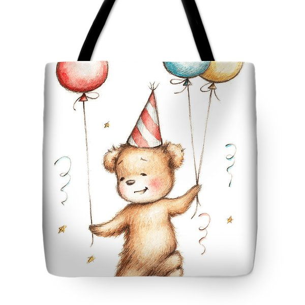 Print Of Teddy Bear With Balloons Tote Bag