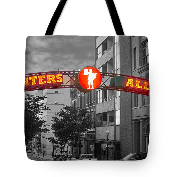 Tote Bag featuring the photograph Printers Alley Sign by Robert Hebert