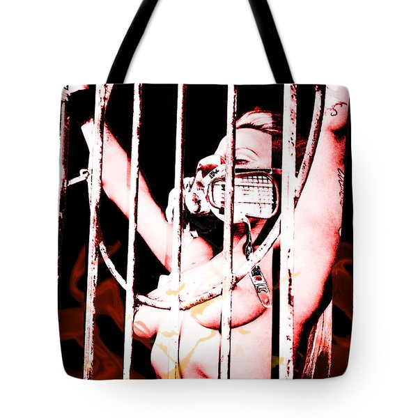 Tote Bag featuring the painting Prisoner by Tbone Oliver