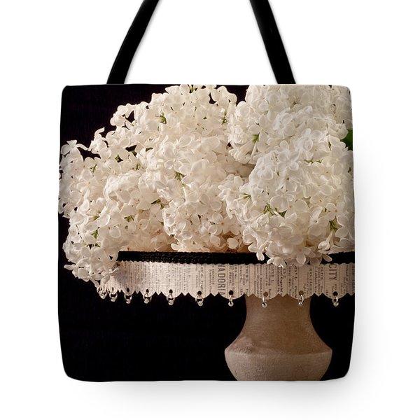 Pristine Lilacs On A Music Pedestal Tote Bag