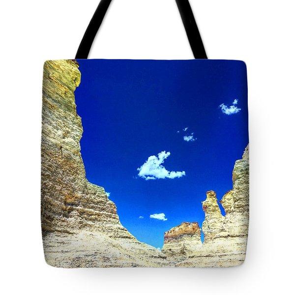 Pristine Sky Meets Historic Rocks Tote Bag