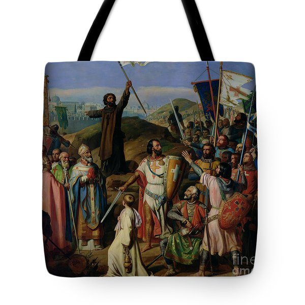 Procession Of Crusaders Around Jerusalem Tote Bag by Jean Victor Schnetz